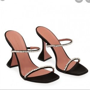 Amina Muaddi Gilda Crystal-Embellished Black Heel